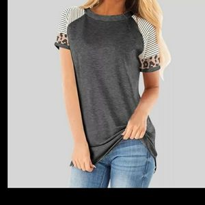 Leopard trim short sleeve Tee Tshirt Top